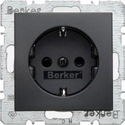 Розетка Berker, скрытый монтаж, с заземлением, со шторками, антрацит матовый, 47231606