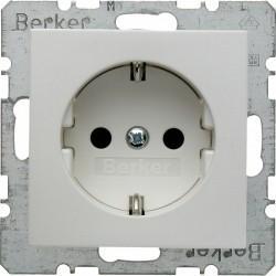 Розетка Berker, скрытый монтаж, с заземлением, со шторками, белый матовый, 47231909