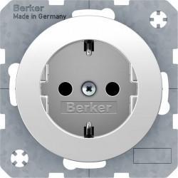 Розетка Berker, скрытый монтаж, с заземлением, со шторками, белый блестящий, 47232089