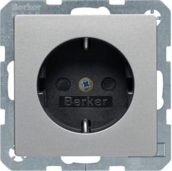 Розетка Berker, скрытый монтаж, с заземлением, со шторками, алюминий бархатный, 47236084