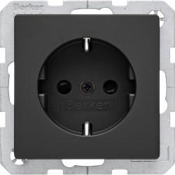 Розетка Berker, скрытый монтаж, с заземлением, со шторками, черный, 47236086