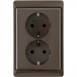 Розетка двухместная Berker ARSYS, скрытый монтаж, с заземлением, со шторками, коричневый блестящий, 47290001