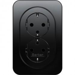 Розетка двухместная Berker, скрытый монтаж, с заземлением, со шторками, черный блестящий, 47292045