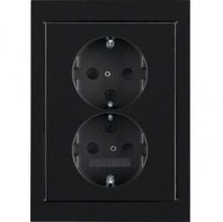 Розетка двухместная Berker, скрытый монтаж, с заземлением, черный блестящий, 47297005