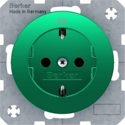 Розетка Berker, скрытый монтаж, с заземлением, зеленый, 47432003