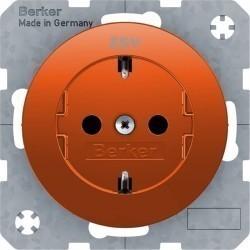 Розетка Berker, скрытый монтаж, с заземлением, оранжевый, 47432007
