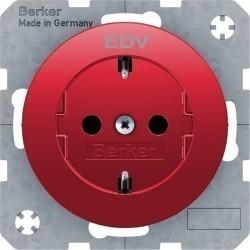 Розетка Berker, скрытый монтаж, с заземлением, красный, 47432022