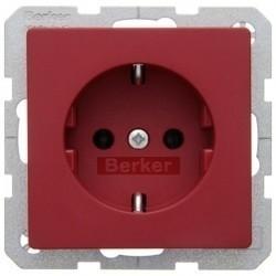 Розетка Berker, скрытый монтаж, с заземлением, красный, 47436012