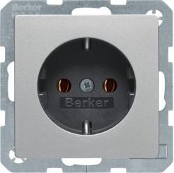 Розетка Berker, скрытый монтаж, с заземлением, алюминий бархатный, 47436084