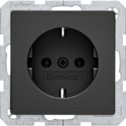 Розетка Berker, скрытый монтаж, с заземлением, черный, 47436086