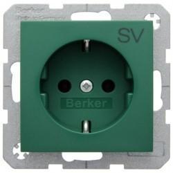 Розетка Berker, скрытый монтаж, с заземлением, зеленый, 47438903
