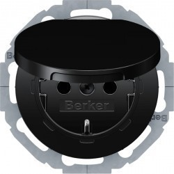 Розетка Berker, скрытый монтаж, с заземлением, с крышкой, со шторками, черный блестящий, 47442045