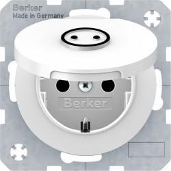 Розетка Berker, скрытый монтаж, с заземлением, с крышкой, со шторками, белый блестящий, 47442079