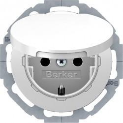 Розетка Berker, скрытый монтаж, с заземлением, с крышкой, со шторками, белый блестящий, 47442089