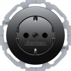 Розетка Berker, скрытый монтаж, с заземлением, черный блестящий, 47452045