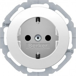 Розетка Berker R.CLASSIC, скрытый монтаж, с заземлением, белый блестящий, 47452089