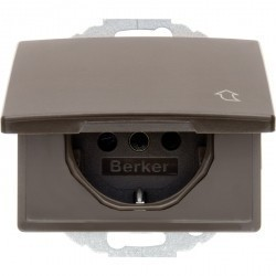 Розетка Berker ARSYS, скрытый монтаж, с заземлением, с крышкой, коричневый блестящий, 47470001