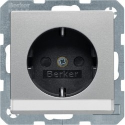 Розетка Berker, скрытый монтаж, с заземлением, алюминий бархатный, 47496084
