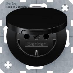 Розетка Berker, скрытый монтаж, с заземлением, с крышкой, со шторками, черный блестящий, 47512045