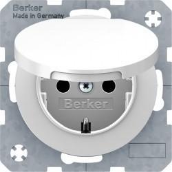 Розетка Berker, скрытый монтаж, с заземлением, с крышкой, со шторками, белый блестящий, 47512089