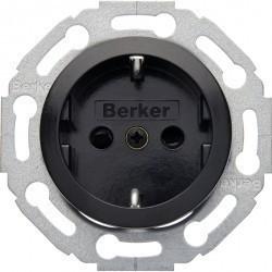 Розетка Berker 1930, скрытый монтаж, с заземлением, со шторками, черный блестящий, 475501