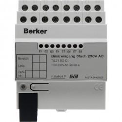 Бинарный вход, 8-канальный, 230 В ~, REG цвет: светло-серый instabus KNX/EIB