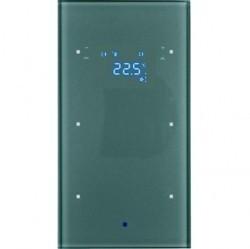 Стеклянный сенсор 2-канальный с регулятором температуры помещения Стекло, цвет: алюминий Berker TS S