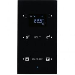 Стеклянный сенсор 2-канальный с регулятором температуры помещения Стекло, цвет: черный Berker TS Sen
