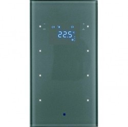Стеклянный сенсор 3-канальный с регулятором температуры помещения Стекло, цвет: алюминий Berker TS S