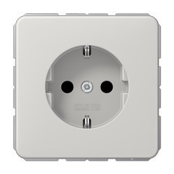 Розетка Jung CD 500, скрытый монтаж, с заземлением, светло-серый, CD1520LG