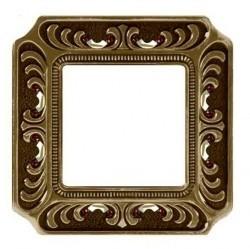 Рамка 1 пост Fede CRYSTAL DE LUXE, bright patina, FD01351PBCL