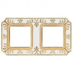Рамка 2 поста Fede SIENA SMALTO ITALIANO, pearl white, FD01352OPEN
