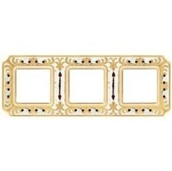 Рамка 3 поста Fede CRYSTAL DE LUXE, gold white patina, FD01353OPCL