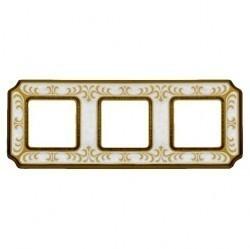 Рамка 3 поста Fede SIENA SMALTO ITALIANO, pearl white, FD01353OPEN