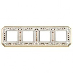Рамка 4 поста Fede CRYSTAL DE LUXE, gold white patina, FD01354OPCL