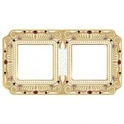 Рамка 2 поста Fede CRYSTAL DE LUXE, gold white patina, FD01362OPCL