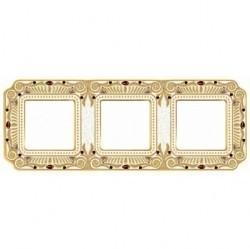 Рамка 3 поста Fede CRYSTAL DE LUXE, gold white patina, FD01363OPCL
