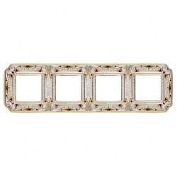 Рамка 4 поста Fede CRYSTAL DE LUXE, gold white patina, FD01364OPCL