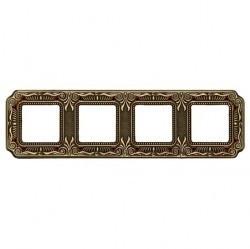 Рамка 4 поста Fede CRYSTAL DE LUXE, bright patina, FD01364PBCL