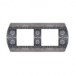 Рамка 2 поста Fede SAN REMO, горизонтальная, antique silver, FD01422AS