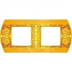 Рамка 2 поста Fede SAN REMO, горизонтальная, bright gold, FD01422OB