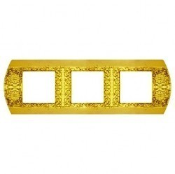 Рамка 3 поста Fede SAN REMO, горизонтальная, bright gold, FD01423OB
