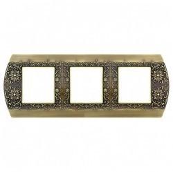Рамка 3 поста Fede SAN REMO, горизонтальная, bright patina, FD01423PB