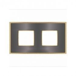 Рамка 2 поста Fede BELLE EPOQUE, graphite/bright gold, FD01432GROB
