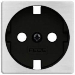 Накладка на розетку Fede коллекции FEDE, с заземлением, nickel satin/черный, FD04314NS-M