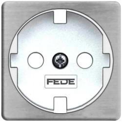 Накладка на розетку Fede коллекции FEDE, с заземлением, nickel satin/белый, FD04314NS