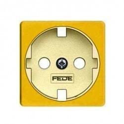 Накладка на розетку Fede коллекции FEDE, с заземлением, bright gold/бежевый, FD04314OB-A