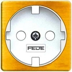 Накладка на розетку Fede коллекции FEDE, с заземлением, bright patina/белый, FD04314PB