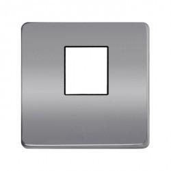 Накладка на мультимедийную розетку Fede, bright chrome/черный, FD04317CB-M