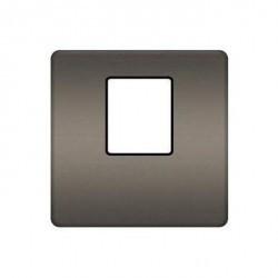 Накладка на мультимедийную розетку Fede, graphite/черный, FD04317GR-M